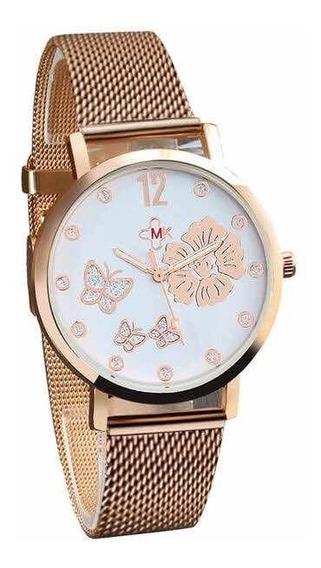 Relógio De Pulso Quartzo Borboleta Flores