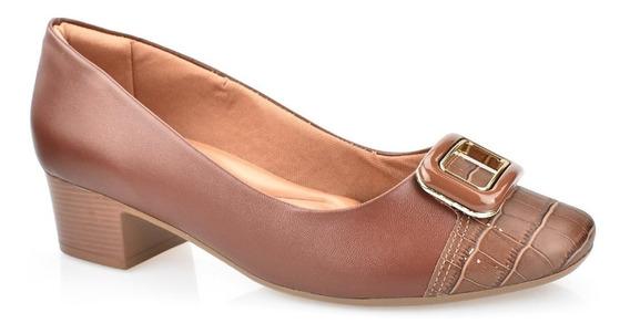 Sapato Comfortflex Salto Baixo Grosso Linha Conforto 1986303
