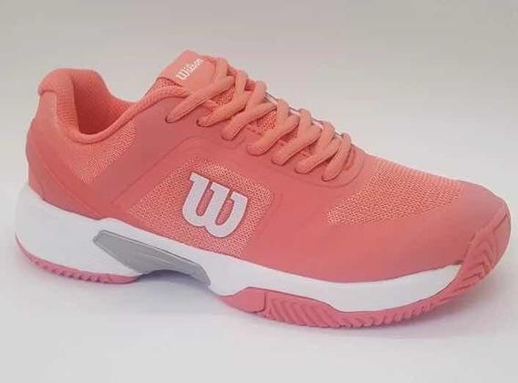 Zapatillas Wilson Set 2.0 Mujer Tenis Padel Coral