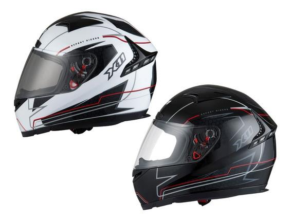 Capacete X11 Volt Lines Dash Moto Motoqueiro Motociclista Branco Ou Preto + Frete Grátis