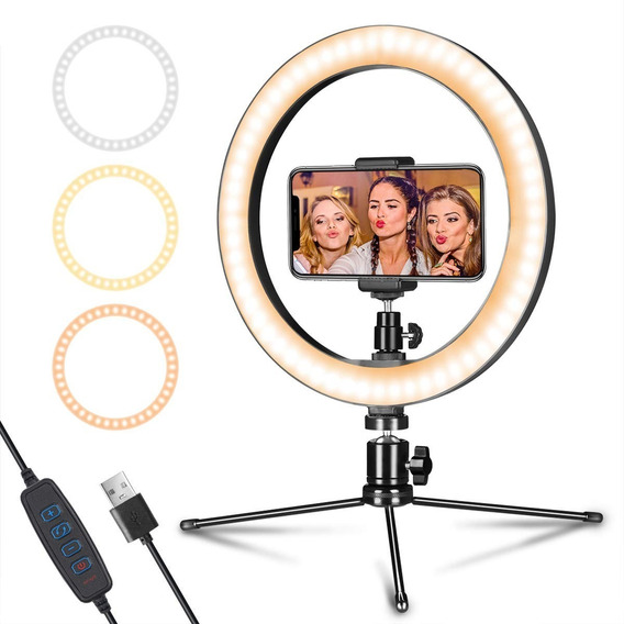 Kit Ring Light 26cm+mini Tripé Make Vlog Youtuber Gravação