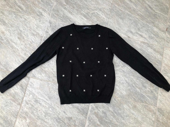 Suéter Negro Con Pedreria, Talla: M, Marca: C&a