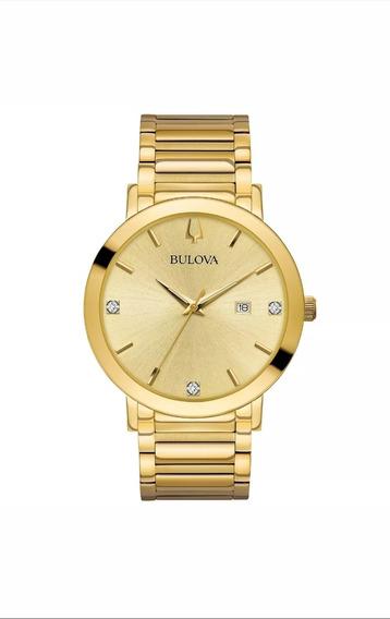 Relógio Bulova Quartzo Masculino Dourado 42mm Modelo 97d115