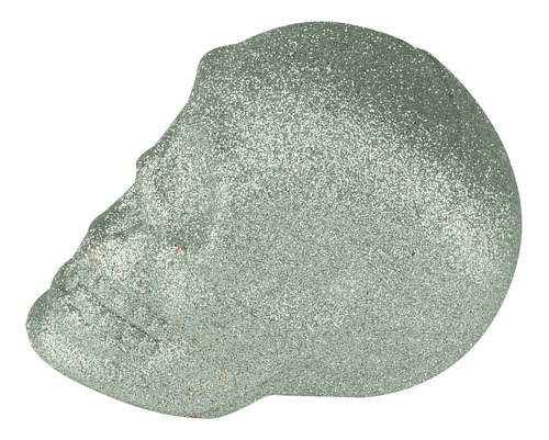 Caveira C/ Glitter Prata Plástico 9cm Urban 44266