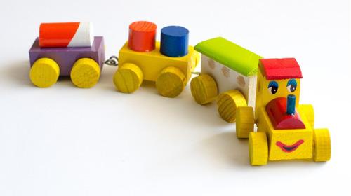 12 Pack Pz Madera Juguete Tren Artesanal XukTOZPi