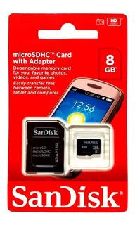 Cartão Memória Micro Sd 8gb Lacrado + Adaptador Sd Original