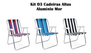 Cadeira Alta Aluminio Praia Piscina Pescaria Kit C/ 03 Pçs