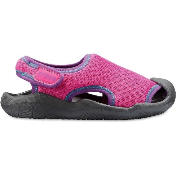 Crocs Swiftwater Sandal K -neon Magenta/slate Grey-