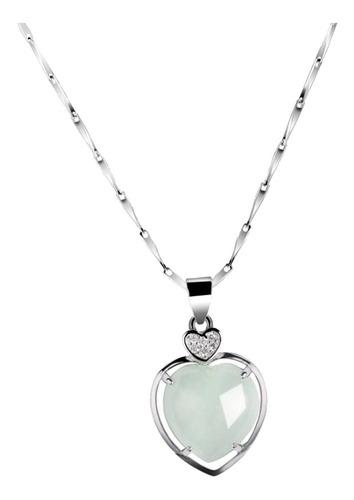 Pingente Coração De Jade Natural Prata De 1ª Lei Nelace L