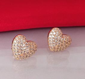 Brinco Feminino Coração Pedra Cristal Banhado Ouro 18k