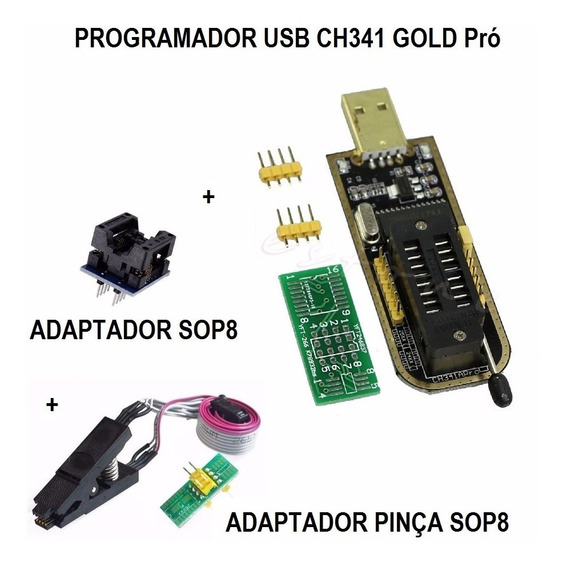 Gravador Usb Para Eprom Flash Bios + Kit De Adaptadores