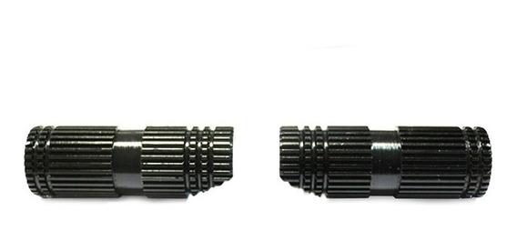 Pedalines Delanteros Negro Aluminio Tunning Estriado Redondo
