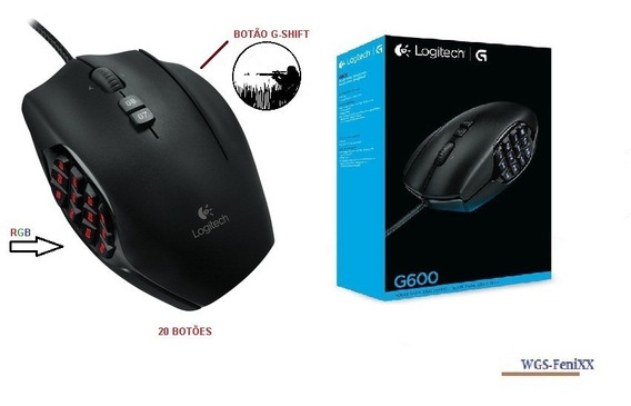 Mouse Gamer Logitech G600 Mmo Gaming Mouse Rgb-20 Botões