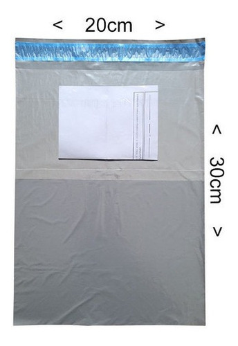 Imagem 1 de 2 de Envelope Plástico Sedex  Cinza Com Bolsa Canguru 20x30 500un