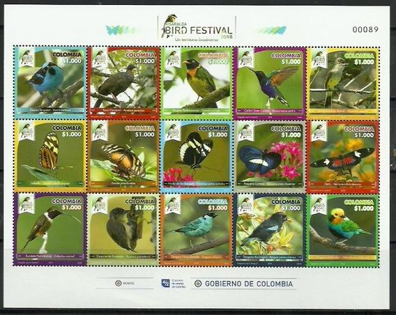 # Mcn # Colômbia 2018 - Aves / Pássaros - Bloco Mint (2)