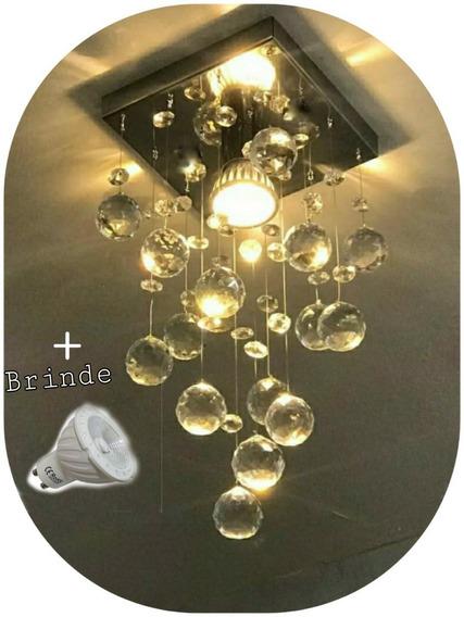 Lustre De Cristal Verdadeiro K9 Lampada De Brinde