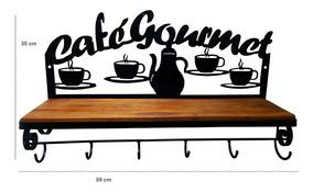 Prateleira Madeira Rústica E Ferro Café Gourmet Estante Casa