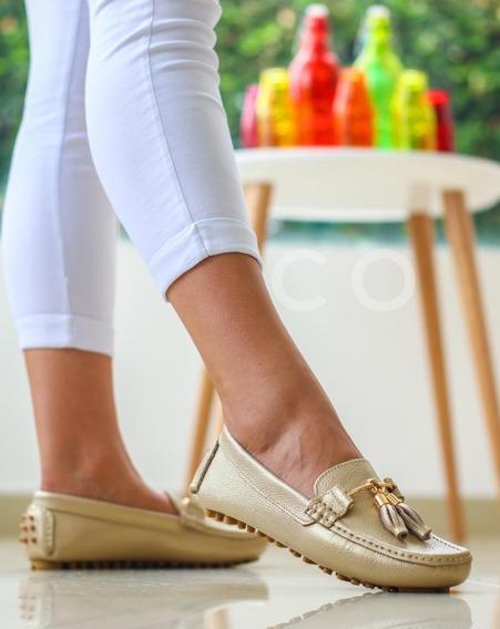 Zapato Mocasín De Cuero Para Dama Moda Colombiana
