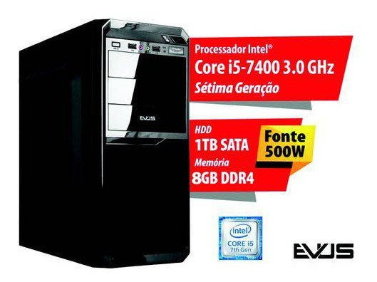 Pc Cpu Computador Intel Core I5 7400 Quad Core + Hd 1tb + 8gb Ram + Fonte 500w + Windows 10 10