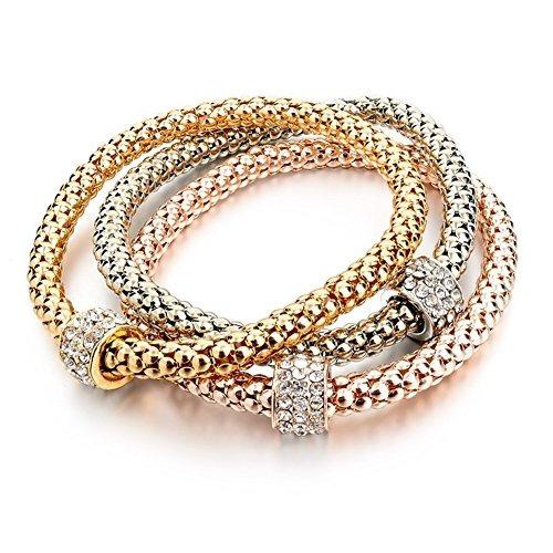 Long Way 3pcs Chapado En Oro Plateado Charm Bracelet Women L