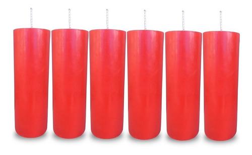 Kit 6 Velas Votivas 7 Sete Dias Colorida Vermelha