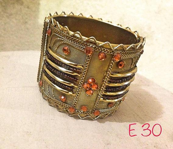 Bracelete Ouro Velho Grande Strasses Trabalhado Oriental
