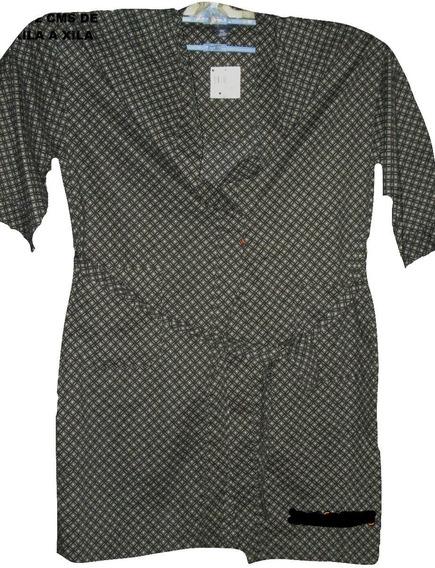Bata Negra Con Gris Estampada De Hombre Unitalla Plus 2x 3x