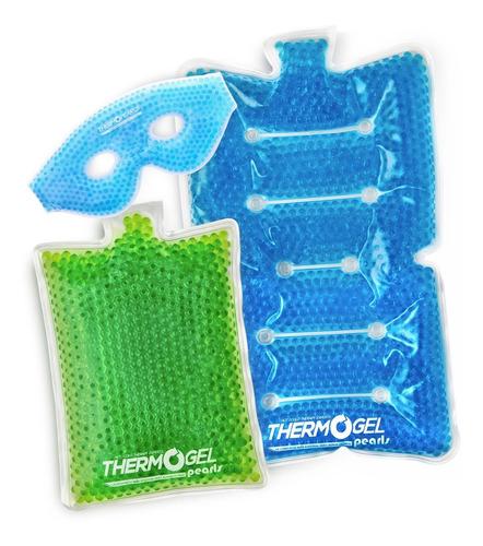 Imagen 1 de 10 de Kit De Compresas G M Y Antifaz Azul De Perlas Uso En Frio