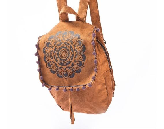 Mochila Mandala /de Camurça Estampada Boho Hippie Chic