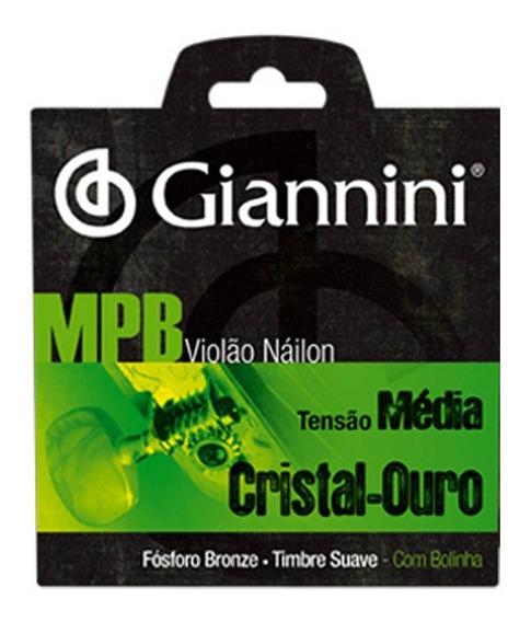 Encordoamento Violão Giannini Mpb Tensão Média Cristal-ouro
