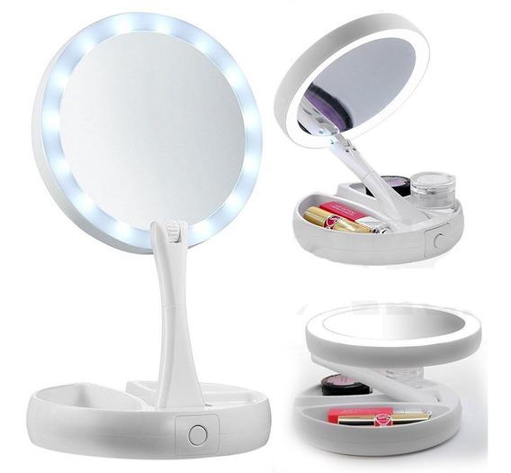 Espelho Maquiagem Aumento 10x Dupla Face Luz Led Organizador