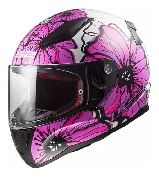 Casco Moto Ls2 Ff353 Rapid Poppies Blanco Rosa