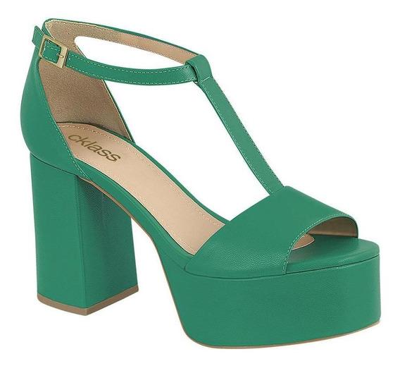 Zapatos Mujer Sandalia Tacón 10 Cm Verde Cklass