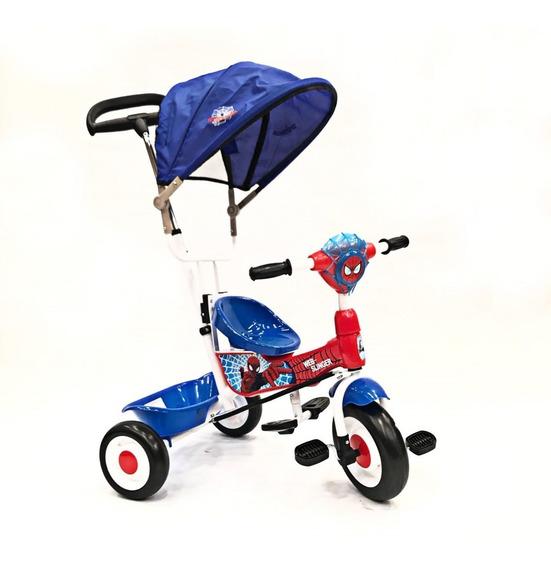 Triciclo Spiderman Con Toldo Barra Direccional Luz Sonido =