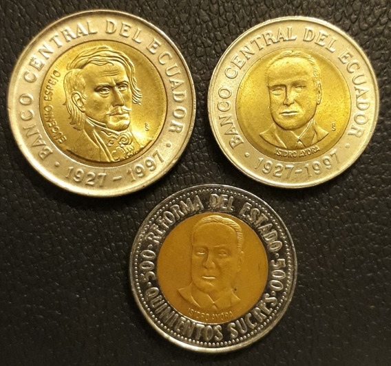 Lote X 3 Bimetalicas De Ecuador. 500 Y 1.000 Sucres 1997.