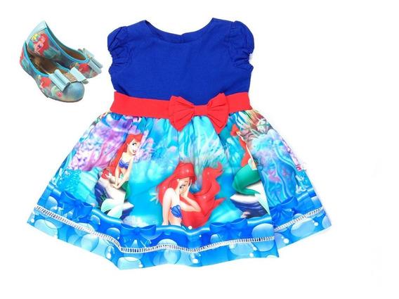 Sapatilha + Vestido Pequena Sereia C/m Bufante