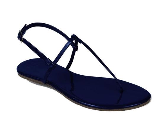 Sandália Flat Mercedita Shoes Verniz Ultra Macia Marinho