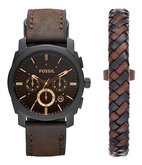 Relógio Fossil Masculino Fs5251 Set Relogio + Pulseira Origi