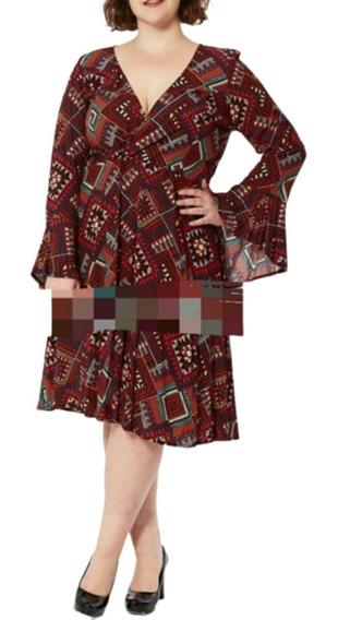 Vestido Crepe Estampado Mangas Oxford , T. 6 A 9