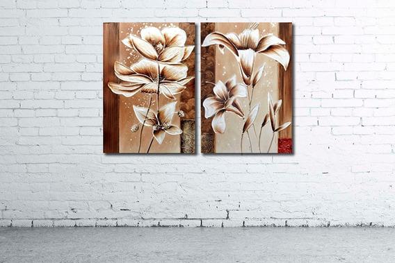 Oferta!!! Cuadro Diptico 73x52cm Moderno Flores Variadas Diseño Personalizado