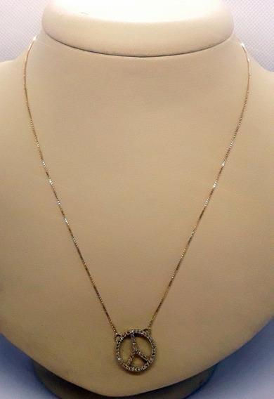 Corrente Ouro 18k Com Pingente Com Brilhantes 40cm 3,85g