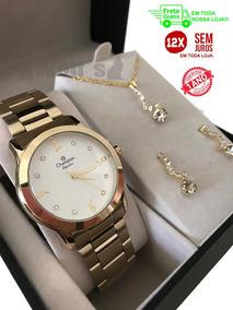 Relógio Feminino Mini Dourado Original Champion