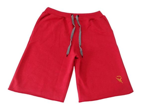 Bermuda Shorts Moletom Liso Com Amarração Academia Rt13