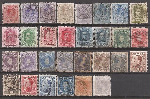 España 1872 Interesante Lote 30 Sellos Usados - 142
