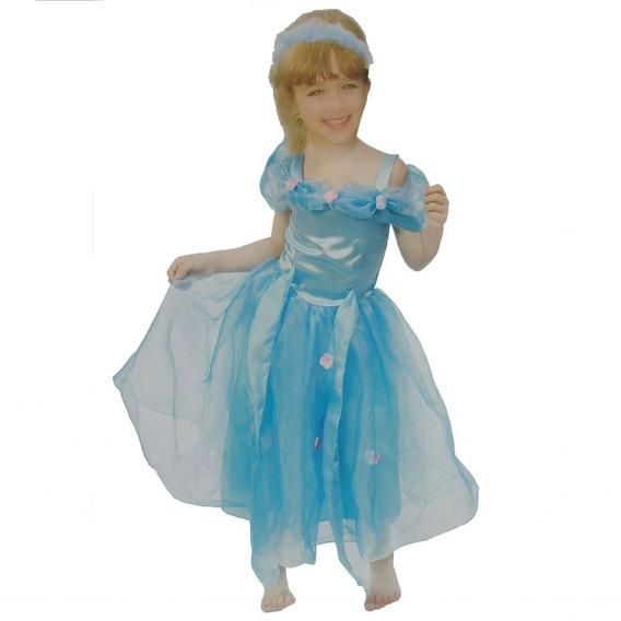 Fantasia Cosplay Infantil Princesa Menina Azul M