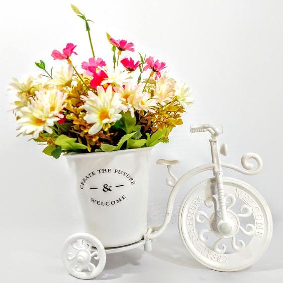 Bicicleta Flores Artificiais Arranjo Artificial Vasos Rosas