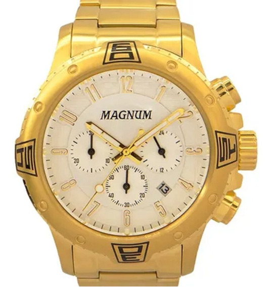 Relógio Masculino Dourado Magnum Ouro V2