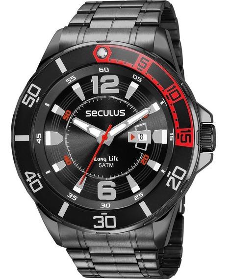 Relógio Seculus Masculino Preto Analógico 23652gpsvpa2