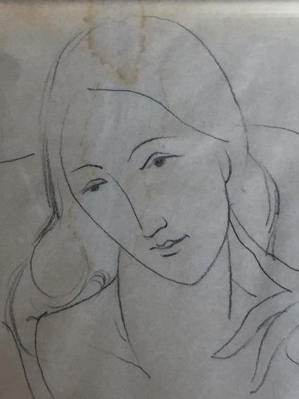 Dibujo De Mujer En Estilo De Modigliani Firmado Alicia Barra