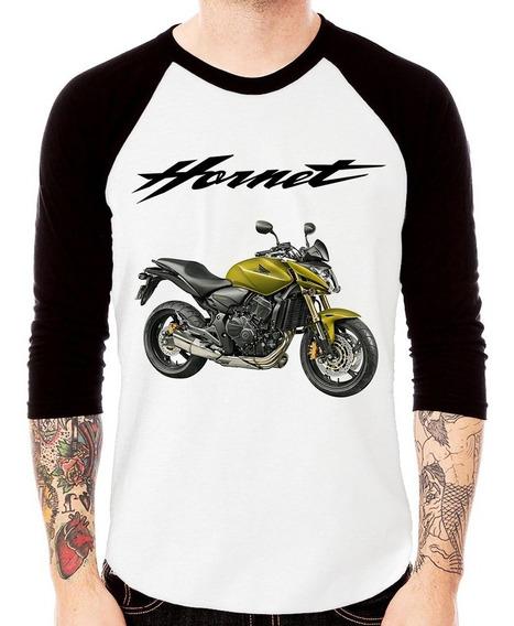 Camiseta Raglan Moto Honda Cb 600 Hornet 2011 Verde 3/4